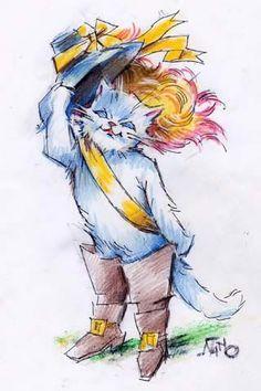 Il Gatto con gli stivali interpretato dalla matita di Silvano Campeggi.