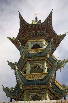 minaret of a mosque in Lanzhou, Gansu Province, (China).
