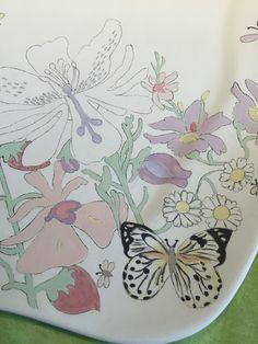 New plate in progress. Flowers, bugs, butterfly.