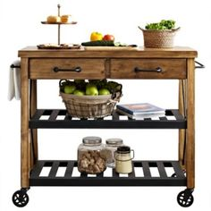 this efficient real simple rolling kitchen island packs in the