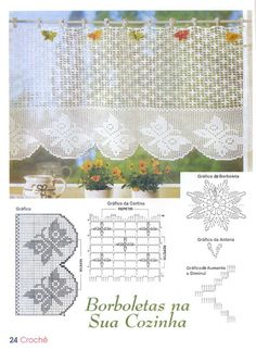 Kira scheme crochet: Scheme crochet no. Irish Crochet Patterns, Filet Crochet Charts, Crochet Borders, Crochet Motif, Crochet Designs, Crochet Doilies, Crochet Curtain Pattern, Crochet Curtains, Crochet Tablecloth
