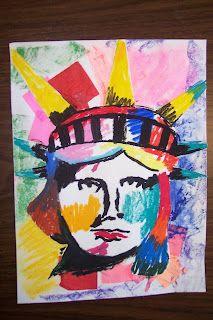 Peter Max inspired patriotic - St. Frances Cabrini Art
