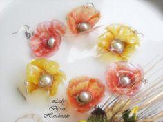 Orecchini con monachelle con pendenti fiore Papavero in Sospeso Trasparente bijoux idea regalo, by Lady Bijoux Handmade, 7,00 € su misshobby.com