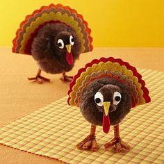 Pom-pom Turkeys Party Craft Ideas for Kids