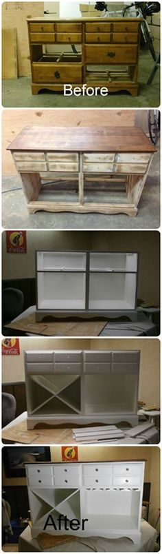 Old dresser from the local dumpster, upcycled into a wine rack table. New cabinet knobs, sanded down, walnut stained top and painted white throughout- added the wine bottle and wine glass holders!