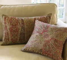 Wool Jacquard Pillow Cover - Green #potterybarn, my new pillows