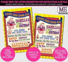 Hey, I found this really awesome Etsy listing at https://www.etsy.com/listing/161681380/carnival-invitations-circus-invitations