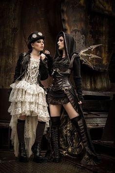 Steampunk Dress / Goggles / Corset / Hood / Hat / Punk Girl / Women / Fashion Photography  // ♥ More at: https://www.pinterest.com/lDarkWonderland/