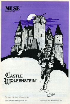 (12/1981) Muse, Castle Wolfenstein. I used to work for Muse Software in downtown Baltimore. Silas (who wrote the original software) was a giant teddy bear. Great game pl