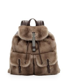 Brunello Cucinelli Mink Fur Backpack, Brown #TheUltimateSplurge #Holiday #GiftGuide