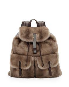 Brunello Cucinelli Mink Fur Backpack, Brown #TheUltimateSplurge #Holiday #GiftGuide