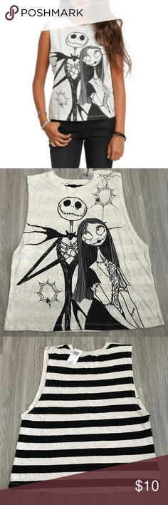 Hot Topin Nightmare Before Christmas Muscle Top Graphic of Jack and Sally on the Front - Stripes Down The Back - Machine Wash Cold - Tumble Dry Low - 99% Cotton- 1% Polyester - Made in Gautemala - Perfect for a day at the Disney Parks! Disney Tops Muscle Tees