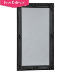 Beautiful floor standing mirror in black, perfect for a boudoir styled dressing room / bedroom Extra Large 'Kingston' Mirror In Black : Beau Decor