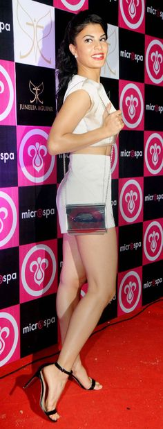 Jacqueline Fernandez's shapely legs were showcased to their best advantage in those teensy weensy shorts at the launch of Microspa. #Style #Bollywood #Fashion #Beauty