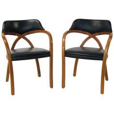 Pair of Ward Bennett armchairs by Brickel