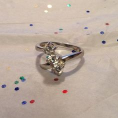 Sterling Silver and White Topaz Ring Beautiful Past, Present, Future ring. Can be sized Jewelry Rings