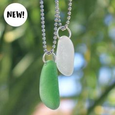 Sea Glass Necklace: Simple Satellite | Authentic Laguna Beach Sea Glass Necklace | Simple Sea Glass