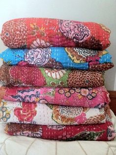 Kantha Floral Quilt - All Colors