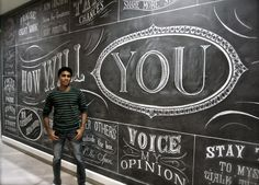 He also does chalk artistry and calligraphy in Toronto, and is really good at it.  this is the math geek from mean girls