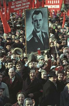 Soviets celebrate the first human in space, April 1961