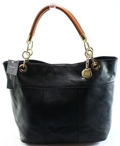 Tommy Hilfiger NEW Black Leather Chestnut TH Signature Handbag Tote Purse $188 #TommyHilfiger #TotesShoppers
