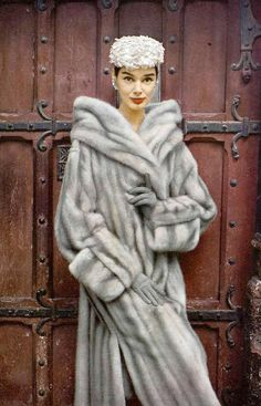 Jacky Mazel in natural blue EMBA mink coat by Maurice Kotler, hat by Maud et Nano, photo by Virginia Thoren, 1956