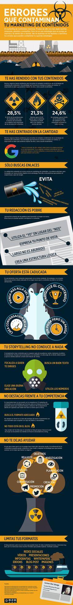 Errores que contaminan tu Marketing de Contenidos #infografia #infographic #marketing