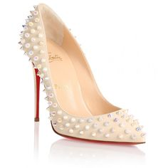 Christian Louboutin Follies Spikes 100 ivory leather pump ($1,295) ❤ liked on Polyvore featuring shoes, pumps, white, high heel pumps, red sole pumps, christian louboutin shoes, white shoes and metallic leather pumps