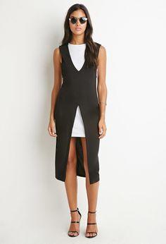 FOREVER 21 Layered High-Slit Midi Dress