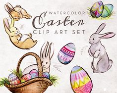Easter Bunnies Watercolor Clipart Set - INSTANT DOWNLOAD - High Res, PNG, Cute, Spring, Rabbits, Hand Painted, Eggs, Basket, Sweet by AntlerAndTwine on Etsy https://www.etsy.com/uk/listing/273105440/easter-bunnies-watercolor-clipart-set