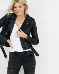 8ecab012ce3 Express Womens (Minus The) Leather Moto Jacket Black
