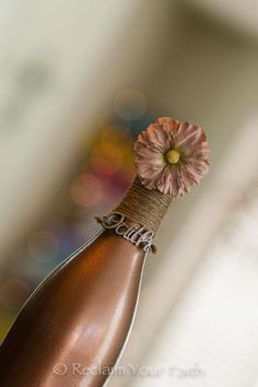 Metallic Copper Wine Bottle by ReclaimYourFaith on Etsy, $10.00