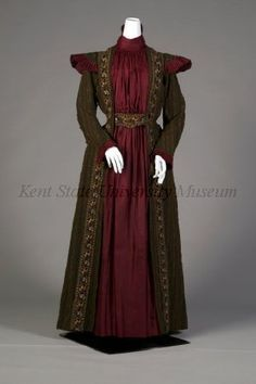 Afternoon dress 1882, ca. American.  Embroidered green afternoon dress (tea gown) with burgundy silk front.