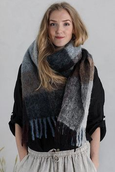 Fresia Check Scarf Plutonia Checked Scarf, Baby Alpaca, Fashion, Moda, Fashion Styles, Fashion Illustrations