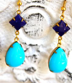 Turquoise and Navy Blue Pear Tear Drop Vintage Navy Blue Square Drop Dangle Earrings
