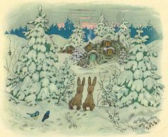 Fritz Baumgarten / Weihnachtsfest im Wichtelland / Bild 01 by micky the pixel… Art And Illustration, Christmas Illustration, Winter Magic, Winter Art, Christmas Art, Vintage Christmas, Old Children's Books, Baumgarten, Vintage Pictures