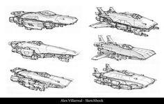 Spaceship Sketches page 01, Alex Villarreal on ArtStation at https://www.artstation.com/artwork/spaceship-sketches-page-01