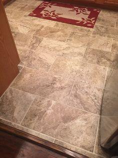 Subway porcelain tile floors in Marazzi Travisano. 12 x 24. Home Depot.