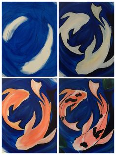 """Evolution of """"Swimming Koi"""" painted @ Painting with a Twist Ft. Lauderdale."""