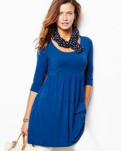 Scoop-Neck Knit Tunic - I want in black and blue