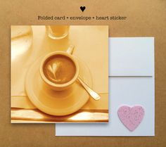 Blank photo card printed on recycled paper // shared with love // profits support charity // cappuccino with heart in Italy (©Kelli Glancey)