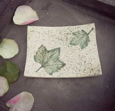 Fall Ceramic Dish Green Rustic Square Pottery Plate от Ceraminic