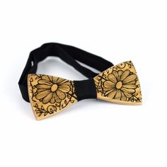 OKTIE wooden bow tie hand made classic gift for man Oak Brown Floral Classic #OKTIE #BowTie