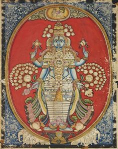 Vishnu - Vishwaroopa darshana. Mysore style miniature painting. Karnataka. South India. Circa 19th century.