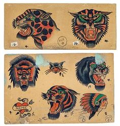 1930 designs by Bert Grimm, St Louis Flash Art Tattoos, Tattoo Flash Sheet, Old Tattoos, Vintage Tattoos, Arabic Tattoos, Sleeve Tattoos, Vintage Tattoo Design, Arabic Henna, Tatoos