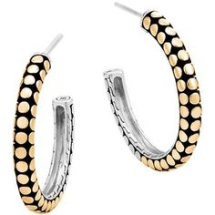 John Hardy 18K Yellow Gold and Sterling Silver Dot Small Hoop Earrings