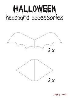 With this FREE printable, which you can download in PDF format on my blog, you can make your own Halloween inspired Changeable Headband with either Cat Ears or Bat Wings. Have fun! #PoppyMaakt #Poppy #Halloween #Bloody #Choker #Changeable #CatEars #BatWings #Headband #SpiderWeb #Crown #HappyHalloweenWitches #Happy #Witches #felt #beads #ironon #fabric #video #tutorial