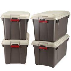 Amazon.com - IRIS 4-Piece Weathertight Heavy Duty Storage Tote, 21.8 Gallon - Lidded Home Storage Bins