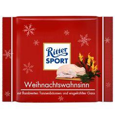 RITTER SPORT Fake Schokolade Sorte Weihnachtswahnsinn - mit flambierten Tannenbäumen und eisgekühlter Gans