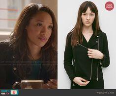 Iris's black moto jacket on The Flash.  Outfit Details: http://wornontv.net/46963/ #TheFlash